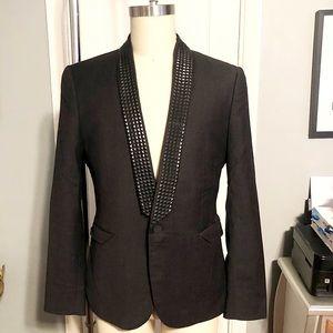 Men's black studded blazer paid $120 size 42
